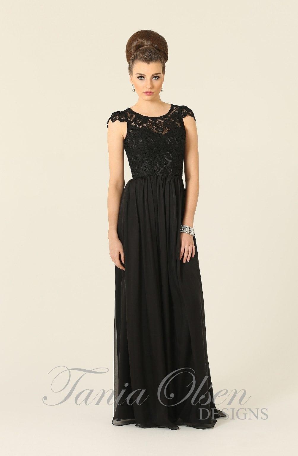 Bridesmaid dress tania olsen design latitia black for Jessica designs international wedding dresses