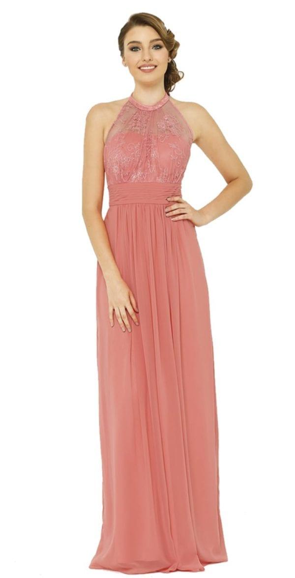 blush bridesmaid gown